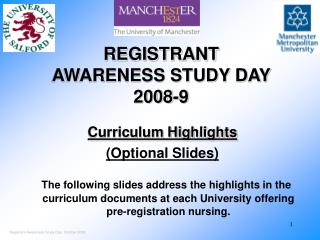 REGISTRANT  AWARENESS STUDY DAY 2008-9