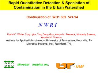 Rapid Quantitative Detection  Speciation of Contamination in the Urban Watershed