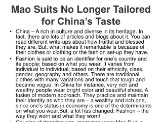 Mao Suits No Longer Tailored for China's Taste