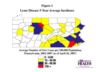 Average Number of New Cases per 100,000 Population, Pennsylvania, 2002-2007 as of April 26, 2007