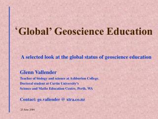Global  Geoscience Education