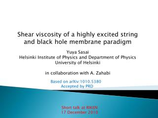Shear viscosity of a highly excited string and black hole membrane paradigm