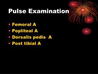 Pulse Examination