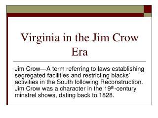 Virginia in the Jim Crow Era