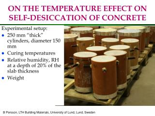 ON THE TEMPERATURE EFFECT ON SELF-DESICCATION OF CONCRETE