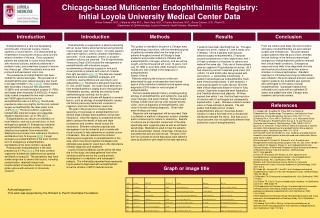 Chicago-based Multicenter Endophthalmitis Registry:  Initial Loyola University Medical Center Data Shivan Tekwani, M.D.,