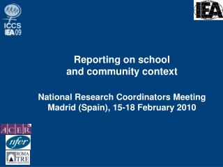Reporting on school  and community context