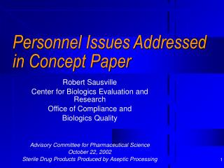 personnel issues addressed in concept paper