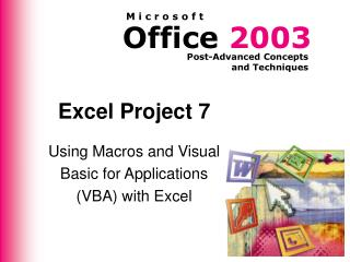 Excel Project 7