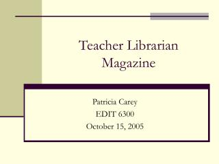 Teacher Librarian Magazine