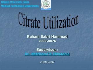 Reham Sabri Hammad 20050076  Supervisor : Dr.  Abdelraouf A. Elmanama   20072008