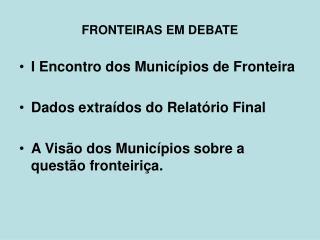 FRONTEIRAS EM DEBATE