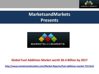 Global Fuel Additives Market worth $6.4 Billion by 2017