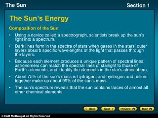 The Sun s Energy