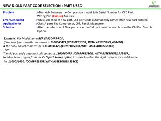 NEW  OLD PART CODE SELECTION : PART USED