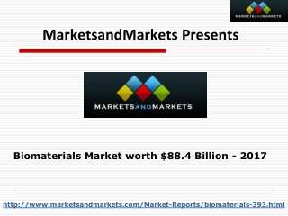 Global Biomaterials Market worth $88.4 Billion By 2017