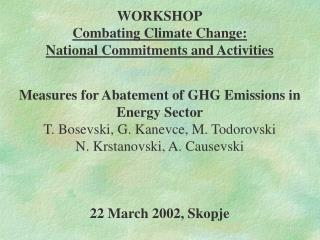 WORKSHOP Combating Climate Change:  National Commitments and Activities