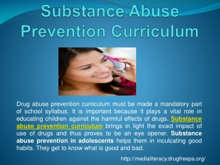 Substance abuse prevention curriculum