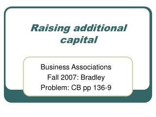 raising additional capital