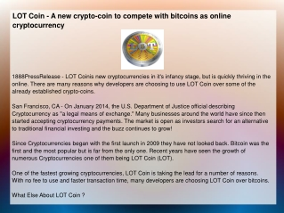 LOT Coin - A new crypto-coin to compete with bitcoins
