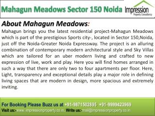 Mahagun Meadows @  91-9871502895