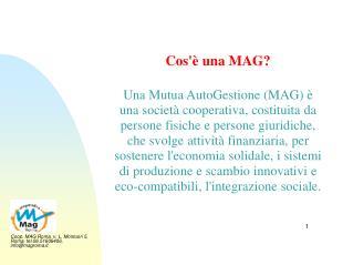 Cos  una MAG  Una Mutua AutoGestione MAG   una societ  cooperativa, costituita da persone fisiche e persone giuridiche,