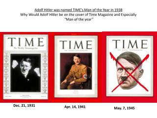 Adolf Hitler was named TIMEs Man of the Year in 1938  Why Would Adolf Hitler be on the cover of Time Magazine and Especi