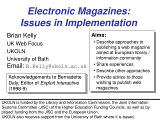 Electronic Magazines: Issues in Implementation