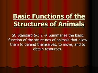 Basic Functions of the Structures of Animals