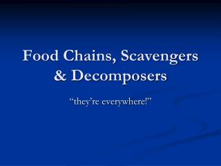 Food Chains, Scavengers  Decomposers