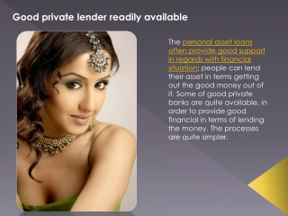 Good private lender readily available