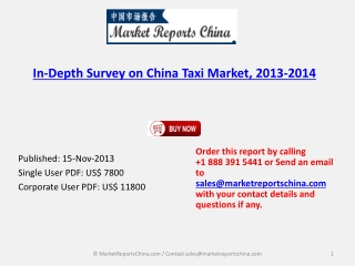 Taxi Industry Analysis for China