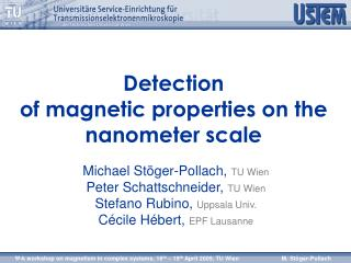 Detection  of magnetic properties on the nanometer scale