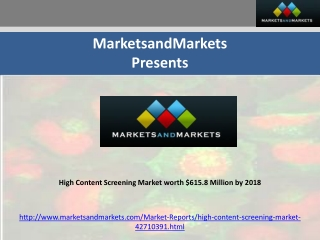 High Content Screening Market worth $615.8 Million by 2018