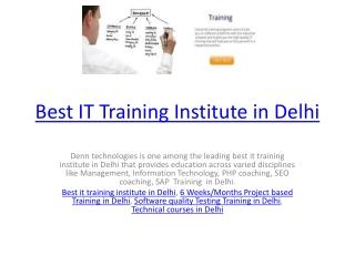 Best IT Training Institute in Delhi