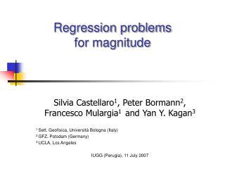 Regression problems  for magnitude