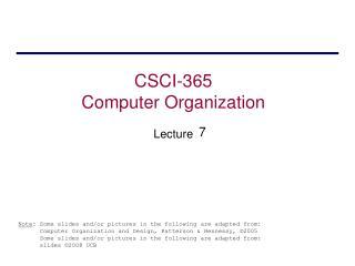 CSCI-365 Levels of Representation