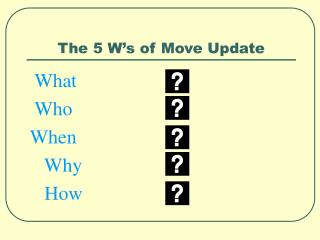 The 5 W s of Move Update