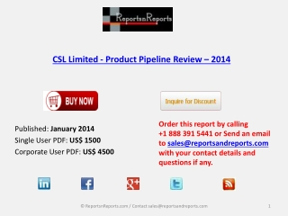 Pipeline Review on CSL Limited- Product Industry 2014