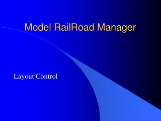 Model RailRoad Manager