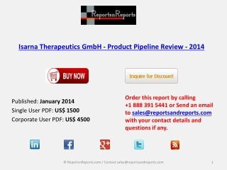 Pipeline Review on Isarna Therapeutics GmbH - Product Indust