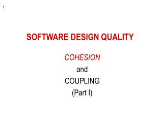 SOFTWARE DESIGN QUALITY