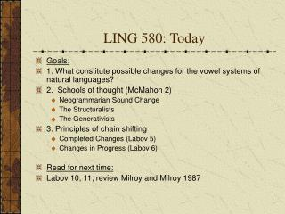 LING 580: Today