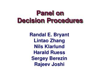 Panel on Decision Procedures