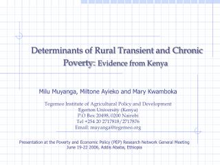 Determinants of Rural Transient and Chronic Poverty: Evidence from Kenya