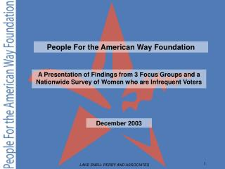 A Presentation of Findings from 3 Focus Groups and a Nationwide Survey of Women who are Infrequent Voters