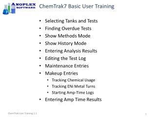 ChemTrak7 Basic User Training