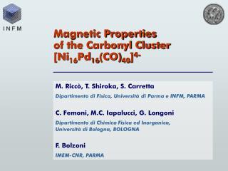 M. Ricc , T. Shiroka, S. Carretta Dipartimento di Fisica, Universit  di Parma e INFM, PARMA   C. Femoni, M.C. Iapalucci,