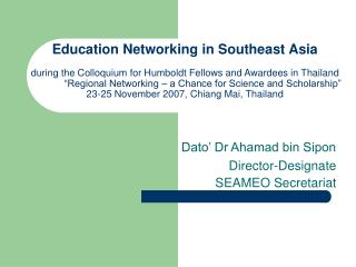 Education Networking in Southeast Asia   during the Colloquium for Humboldt Fellows and Awardees in Thailand   Regional