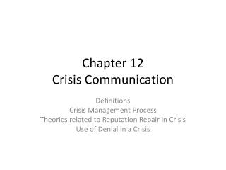 Chapter 12 Crisis Communication
